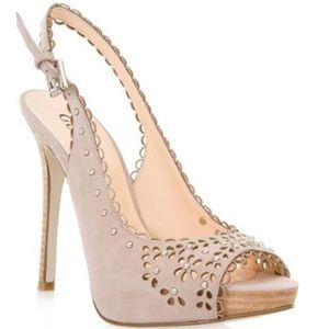 NEW Guess Boardy Slingback Heels in Taupe Suede